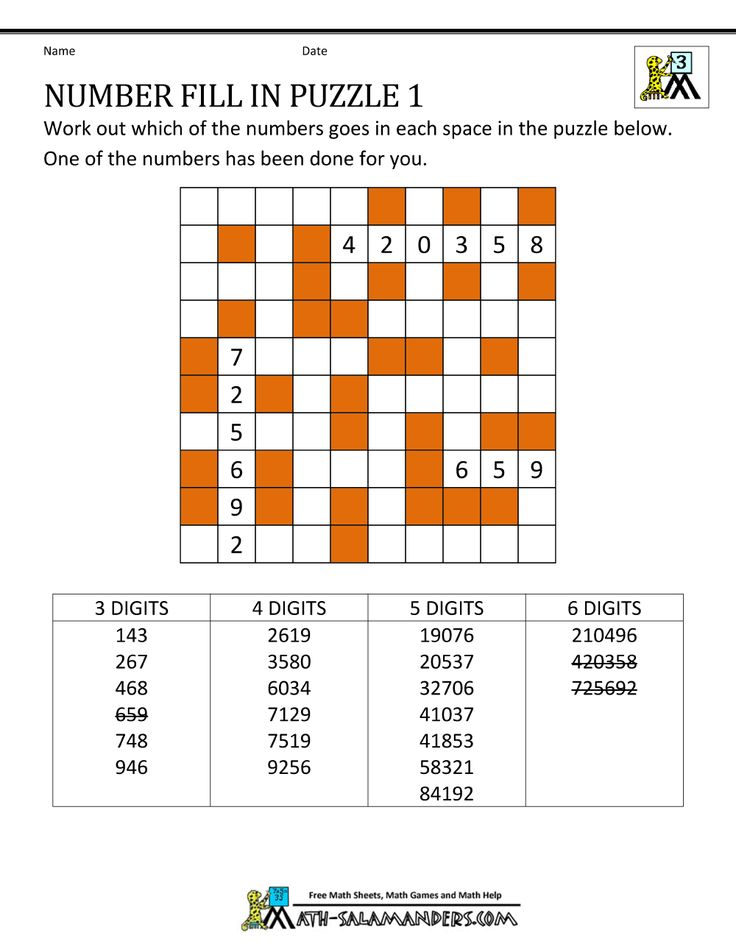 free math puzzles number fill in puzzle 1