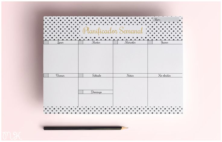 Planificador semanal imprimible. Gratis.