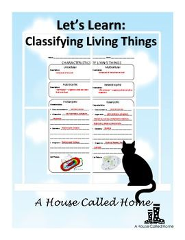 Here's a graphic organizer on classifying living things.