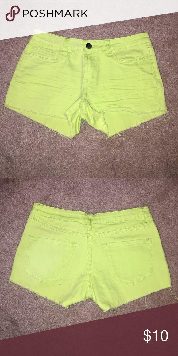 Lime green jean shorts Lime green jean shorts with 4 pockets Shorts Jean Shorts