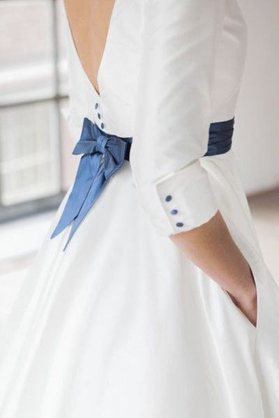 non traditional wedding dress + something blue #weddingdress