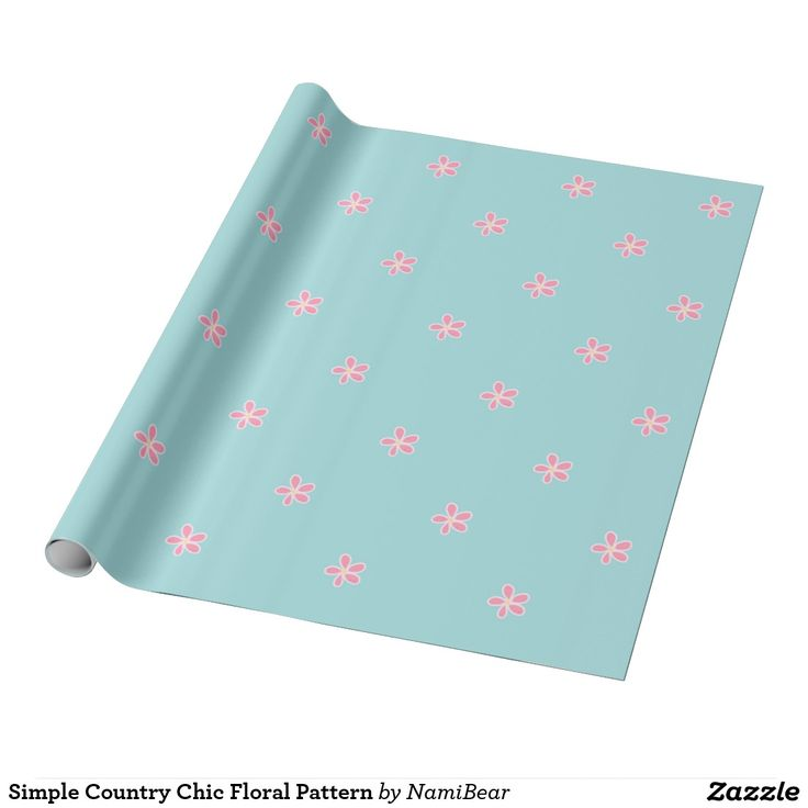 Simple Country Chic Floral Pattern wrapping paper by NamiBear on Zazzle.com. This is a very cute and girly simple floral pattern with pastel colors.