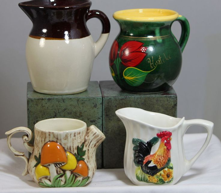 Lot Of 4 Small Vintage Pitchers Creamers Kitchen Decor