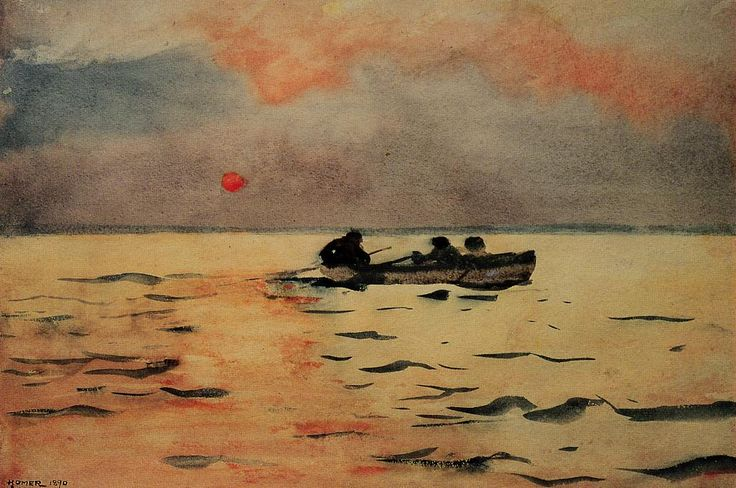 Winslow Homer (American 1836–1910) [Realism, Landscape, Marine] Rowing Home, 1890. Watercolor. Phillips Collection, Washington, DC.