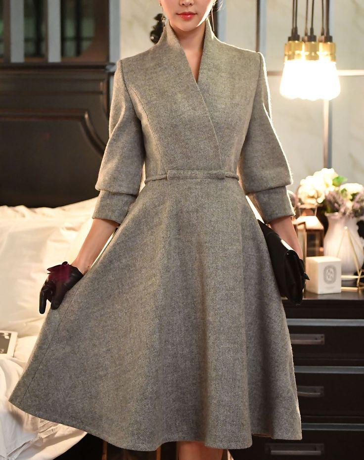 #AdoreWe #VIPme A-Line Dresses - Dabuwawa Gray Woolen High Neck A Line Flare Midi Dress - AdoreWe.com