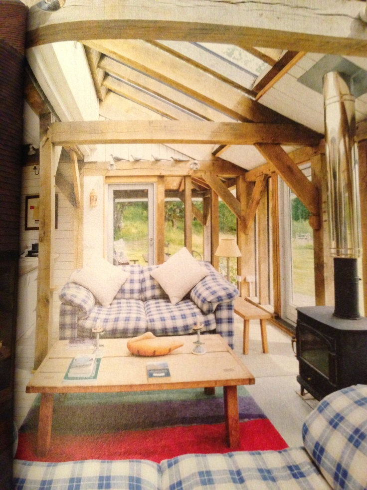 Conservatory with oak beams