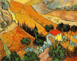 free cross stitch pattern based on a Van Gogh landscape.