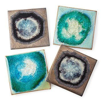 Stoneware and Crackled Glass Coaster Sets