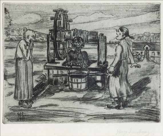 Artwork by Hugo Simberg, PIRU KAIVOSSA, Made of soft ground and etching