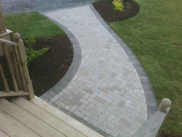 Grey paving. Nice alternative to traditional pink tones.