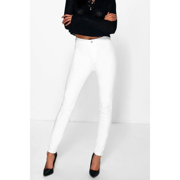 Boohoo Eve High Rise Skinny Tube Jeans (2,420 INR) ❤ liked on Polyvore featuring jeans, high rise white jeans, skinny leg jeans, high-waisted jeans, high rise jeans and white high waisted jeans