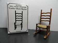 Vintage Dollhouse Furniture Miniature Wooden ROCKER STRAW SEAT Boxed Chadwick