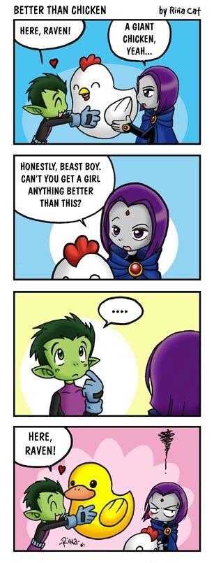 Raven  Beast Boy  Monster  Teen Titans, Teen Titans Funny, Teen -3233