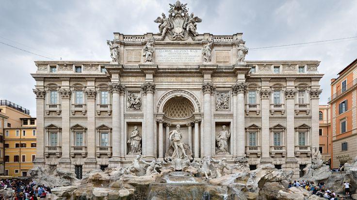 1366x768 Wallpaper trevi fountain, rome, italy, may