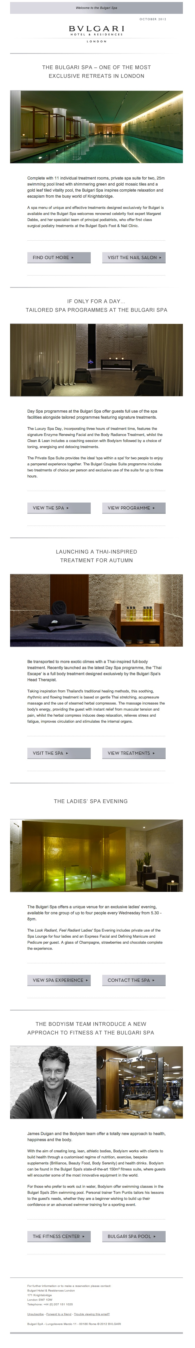 Our design for Bulgari Hotels - Spa