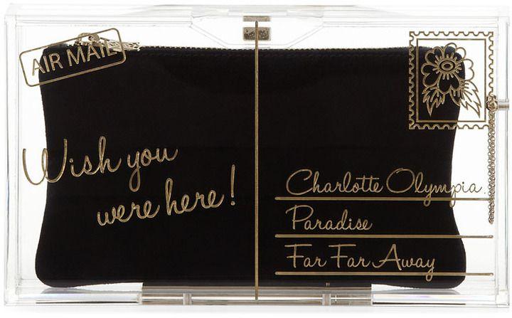 Charlotte Olympia Pandora Wish You Were Here Box Clutch, Clear