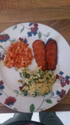Turkey rashers,  beans, scrambled egg with spinach