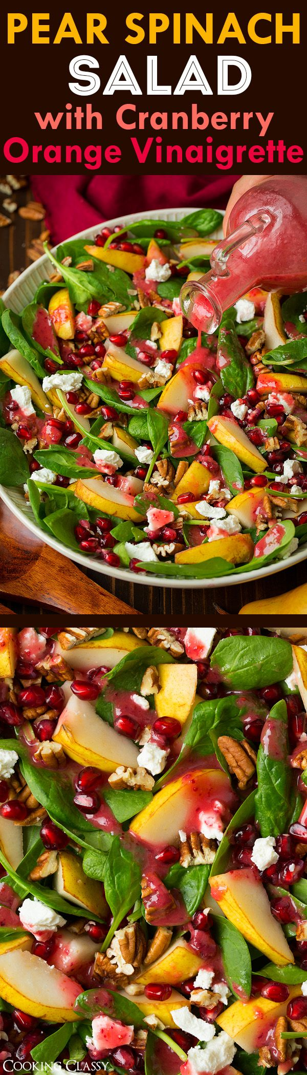 Pear Spinach Salad with Cranberry-Orange Vinaigrette - Cooking Classy