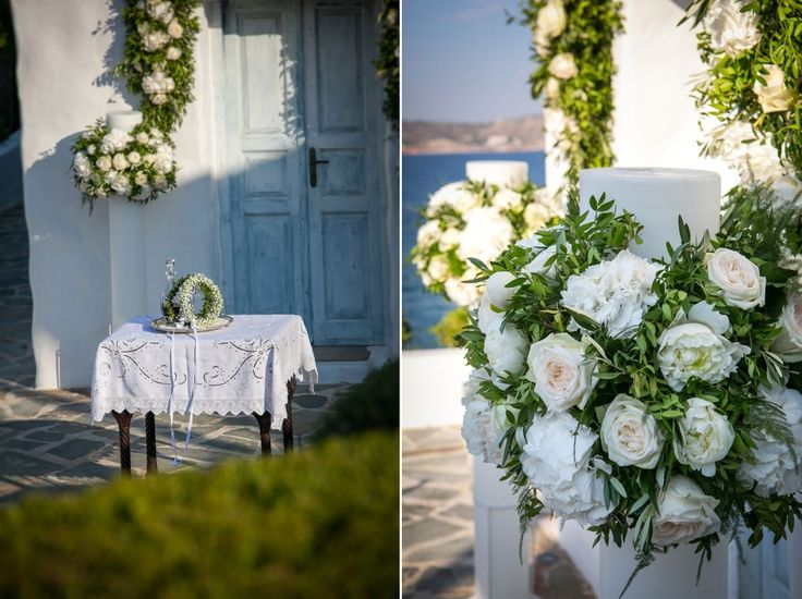 Greek colours with elegant decoration!! Wild greenery, olive brunches and white hydrangeas!