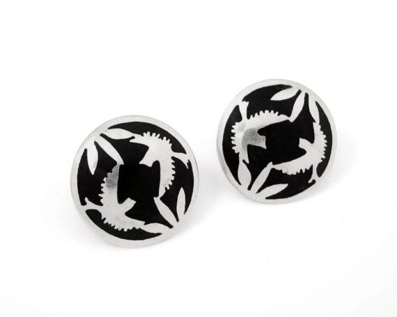 Sterling silver bird detail stud earrings by NatashaGjewellery, $105.00