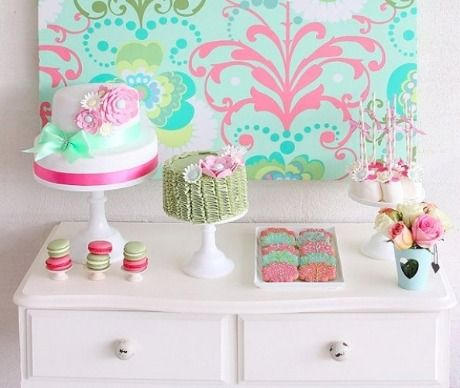 Green and Pink Dessert Table <3 See More Cute Dessert Table Ideas at www.CarlasCakesOnline.com