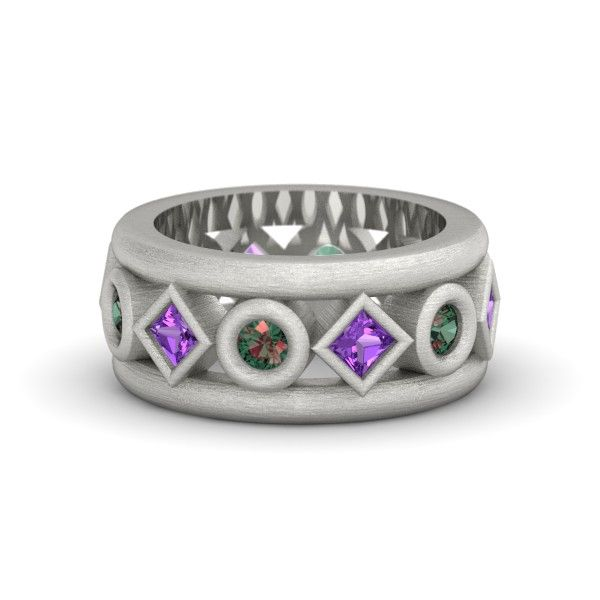 18K White Gold Ring with Amethyst & Alexandrite | Tigranes The Great Ring | Gemvara