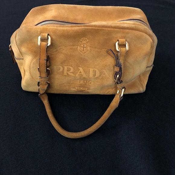 Vintage Prada suede logo shoulder bag 0a5e0a4ad8b4f