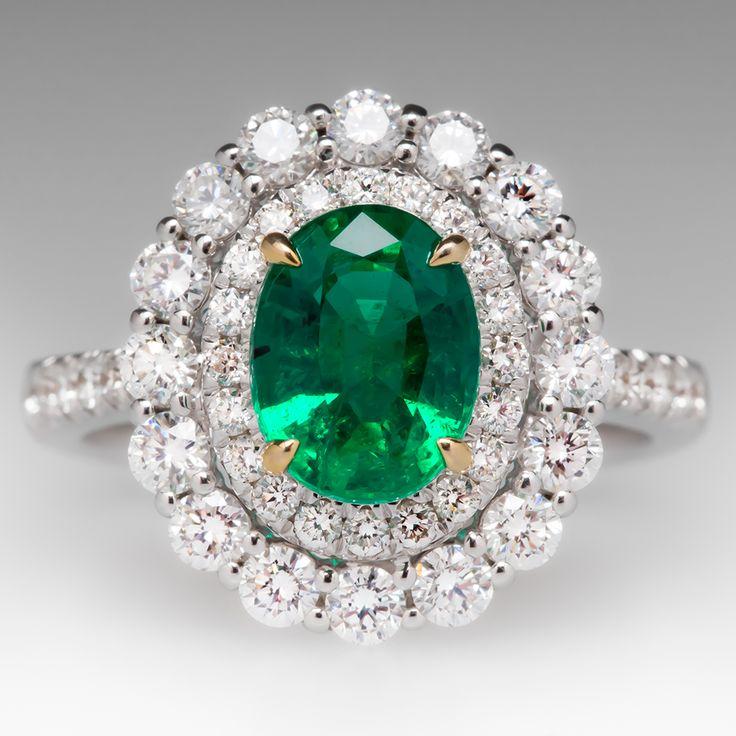 Gorgeous 1.7 Carat Emerald & Diamond Halo Ring 18K