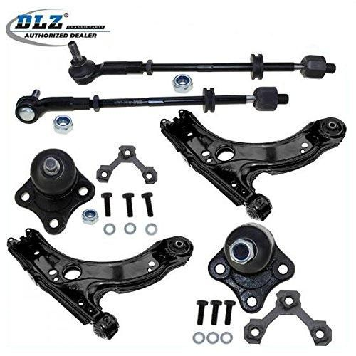 DLZ 6 Pcs Front Suspension Kit-2 Lower Control Arm 2 Lower Ball Joint 2 Inner 2 Outer Tie Rod End Assembly for 1998-2007 Volkswagen Beetle, 1999-2004 Volkswagen Jetta Golf