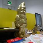 We can't forget our lucky gnome, Mulberry. He's good luck. You have to kiss his feet if you want to win awards. Don't look at us like that....It's true!