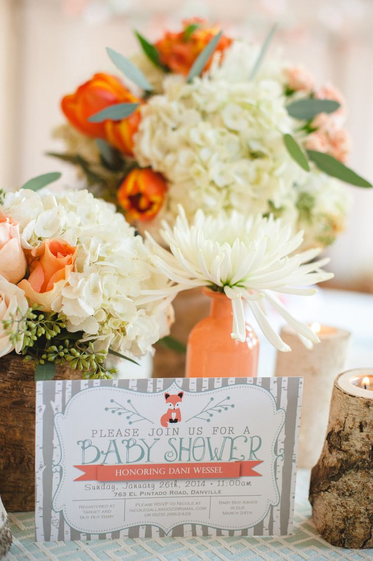adorable fox themed baby shower invitation