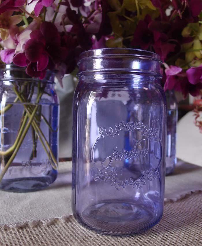 Celebrate this Wedding season with these lilac purple tinted Mason jars, these Mason jars can be used to hold Centerpieces, utensils at an outdoor BBQ or as home decor the options are endless! on sale