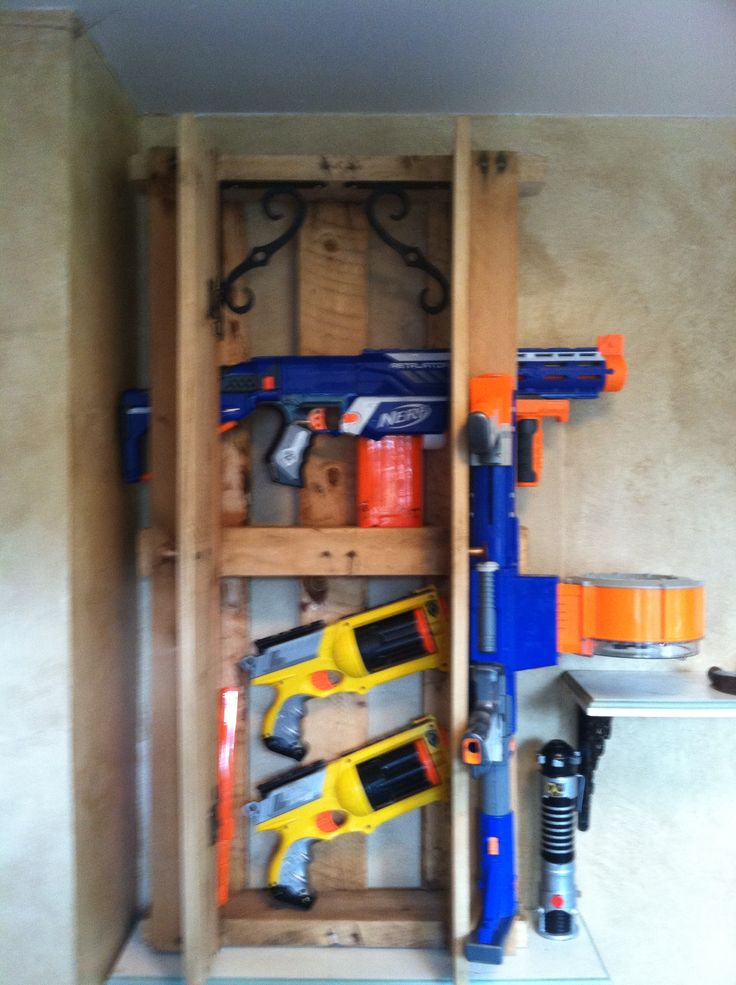 Nerf Gun Rack Made From Old Pallets Every House Needs One