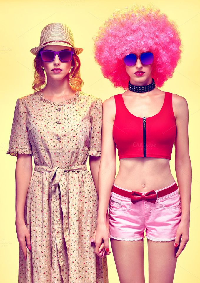 Fashion beauty people, hipster woman, sisters friends, afro by Bear's Den on…