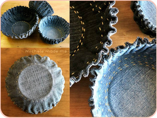 Beautiful sewn #denim bowl tutorial (how has this not been pinned a million times already?) #jean #repurpose denim bowl