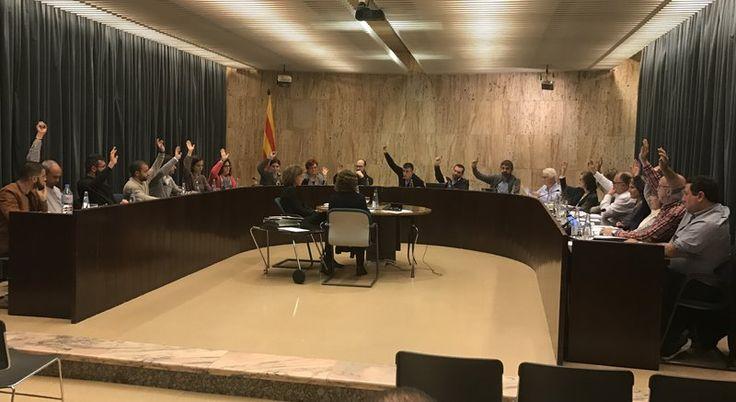 Els regidors, al saló de plens, votant la moció del PSC per definir-se sobre la hipotètica instal·lació del Trueta a Salt Foto: J.N.