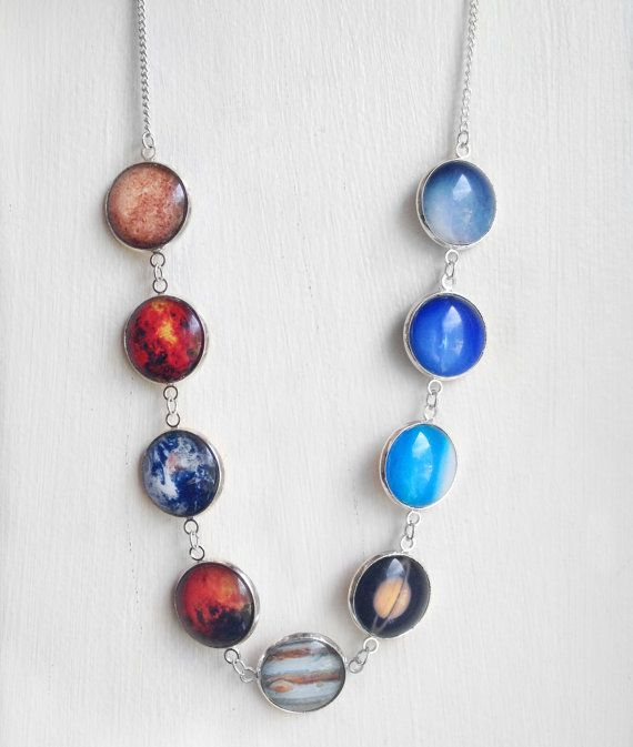 Solar System Necklace 8 Planets plus Pluto by Chillilimeboutique
