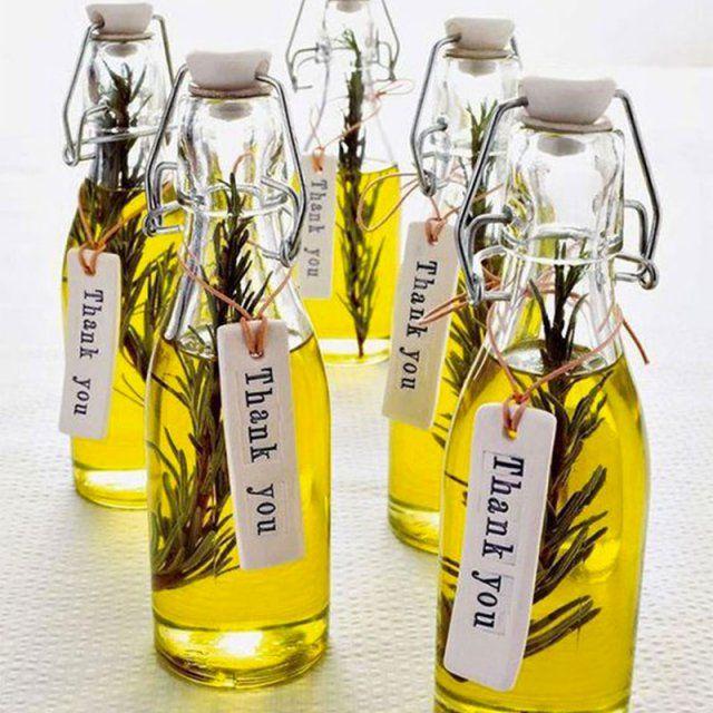 Flacons huile d'olive cadeau invités mariage / wedding gift diy