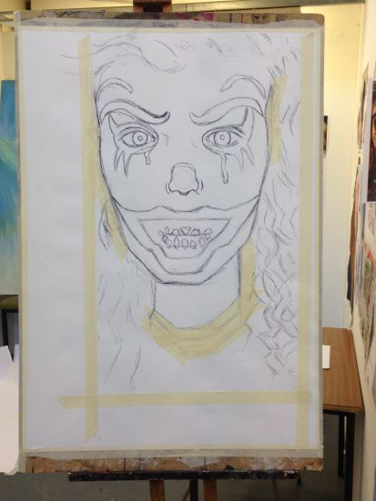 Self-Portrait Black Biro on A1 Cartridge Paper with Masking Tape - Chelsie Cater-Tooby