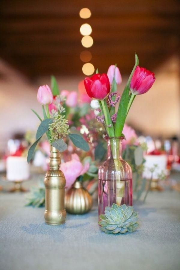 Love the succulents + flowers in jars :: How to pick wedding colors & 4 hot color palettes for spring! - Wedding Party