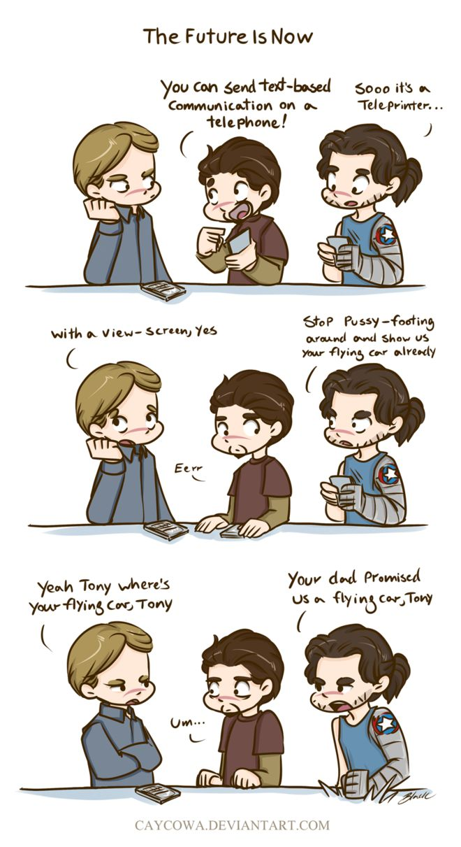 thebagateller:rogers-and-stark:You have a FLYING SUIT and you STILL don't have a FLYING CAR? WTF, Tony? *coulson smugly coughing in the corner*<<