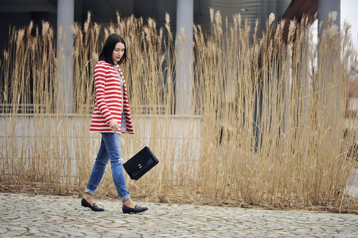 marynarka-w-paski #street #fashion #street #style #boyfriend #jeans #moccasins #striped #blazer #striped #jacket