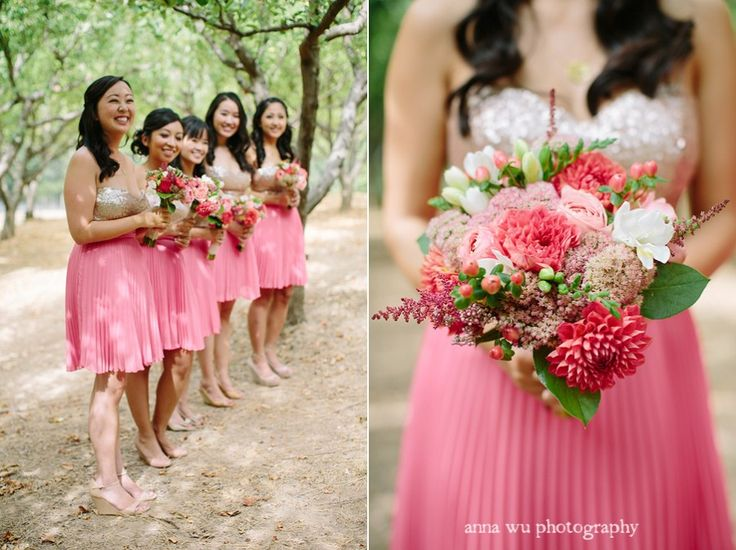 Coral pink and gold sequin bridesmaid 39 s dresses and for Pink and gold wedding dress