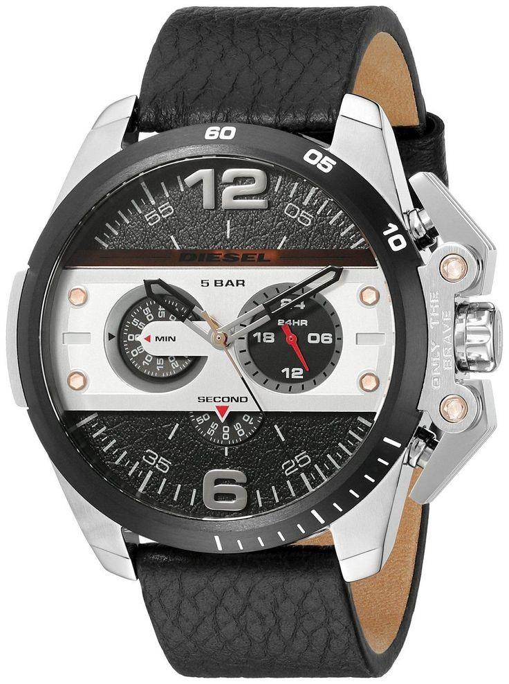 Diesel Ironside Mens Chronograph Watch - Black Dial / Black Leather
