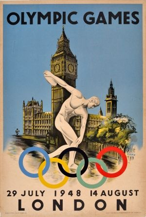 London Olympics 1948 - original vintage poster by Walter Herz for the 1948 London Olympic Games listed on AntikBar.co.uk