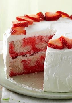 Strawberry-Swirl Cake – Compliments follow this strawberry cake everywhere it goes: moist, airy, refreshing, sweet. And might we add, easy.