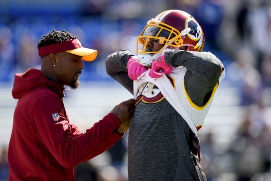Redskins vs. Reavens  -  Oct 9, 2016:   16-10, Redskins  -    Washington Redskins strong safety Duke Ihenacho (29) gets his pads adjusted on the field before the game against the Baltimore Ravens at M&T Bank Stadium. Mandatory Credit: Tommy Gilligan-USA TODAY Sports
