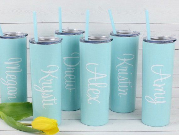 Personalized Cup with Straw - Skinny Stainless Steel Metal
