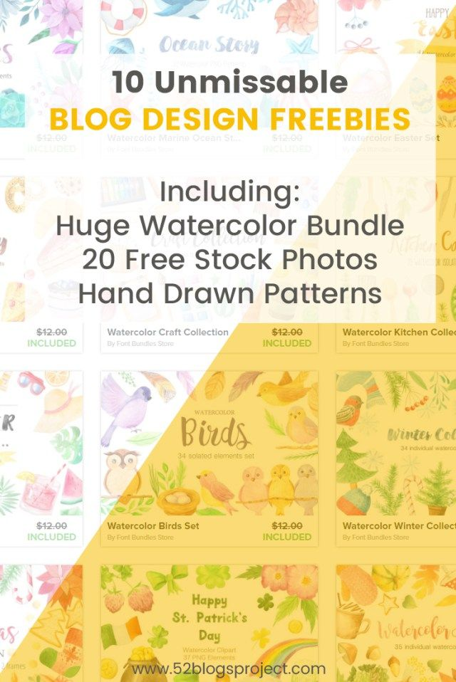 10 Unmissable Blog Design Freebies. Download a Huge Watercolor Bundle, 20 Stock Photos Bundle, Hand Drawn Patterns and more...