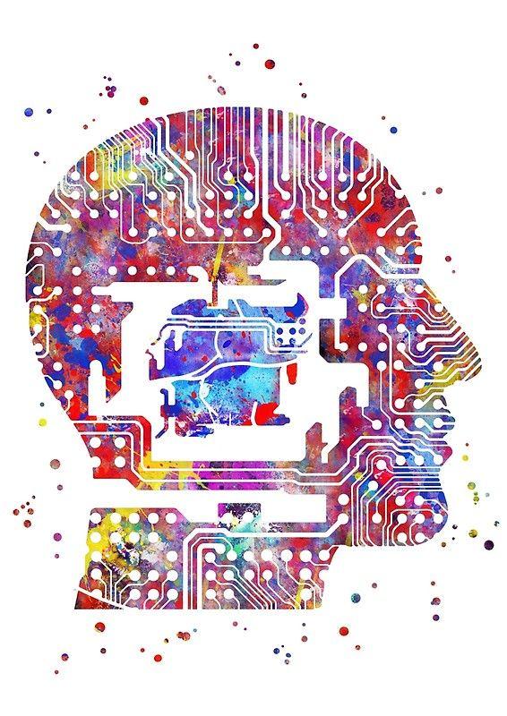 circuit board head, circuit board man print, watercolor circuitcircuit board head, circuit board man print, watercolor circuit board man